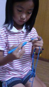子ども編み物くさり編み