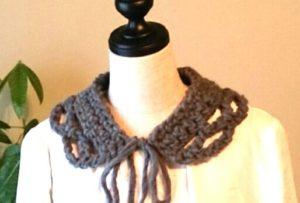 ネット編みのつけ衿