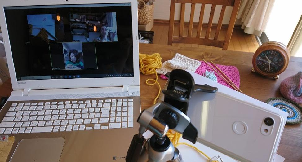 ZOOM編み物教室の風景